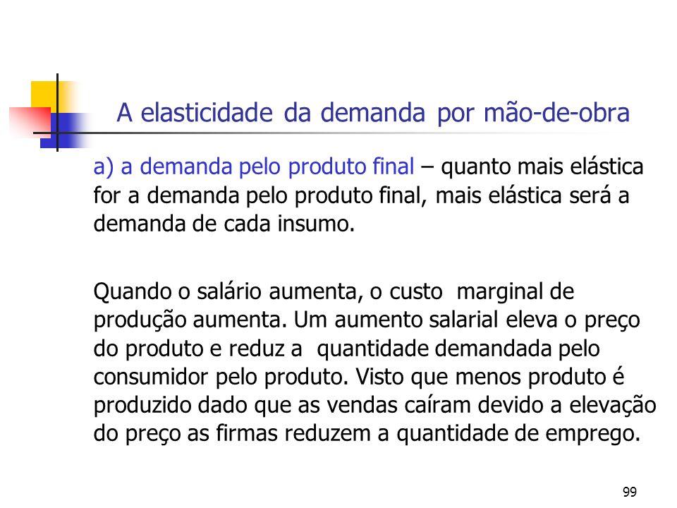 99 A elasticidade da demanda por mão-de-obra a) a demanda pelo produto final – quanto mais elástica for a demanda pelo produto final, mais elástica se