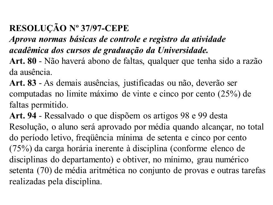 RESOLUÇÃO Nº 37/97-CEPE Aprova normas básicas de controle e registro da atividade acadêmica dos cursos de graduação da Universidade. Art. 80 - Não hav