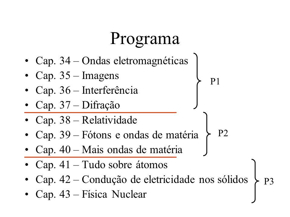 Programa Cap. 34 – Ondas eletromagnéticas Cap. 35 – Imagens Cap. 36 – Interferência Cap. 37 – Difração Cap. 38 – Relatividade Cap. 39 – Fótons e ondas