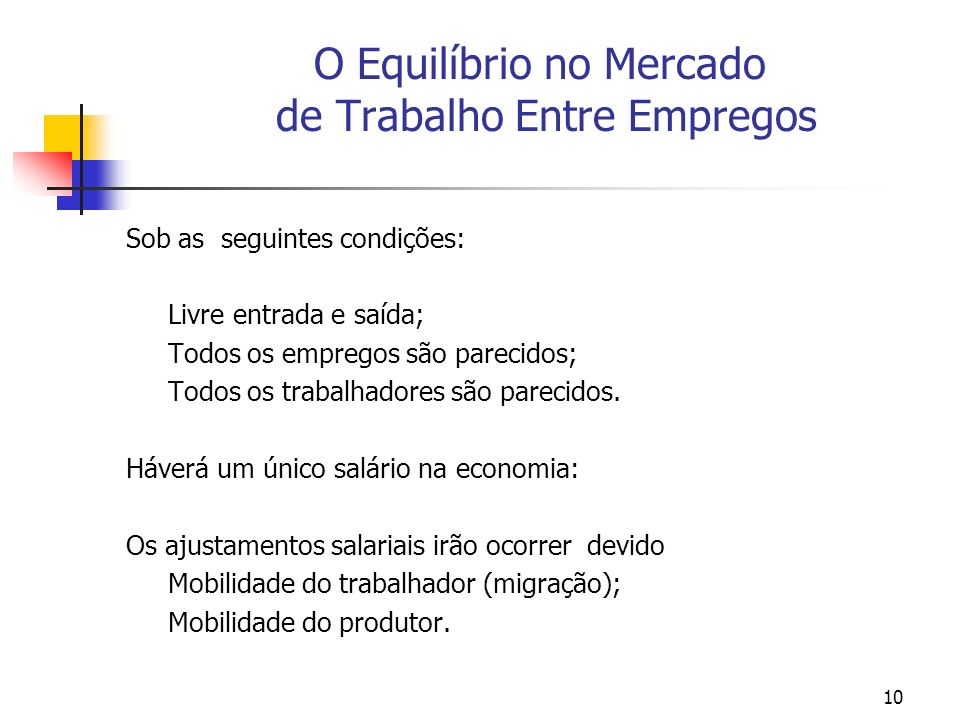 10 O Equilíbrio no Mercado de Trabalho Entre Empregos Sob as seguintes condições: Livre entrada e saída; Todos os empregos são parecidos; Todos os tra