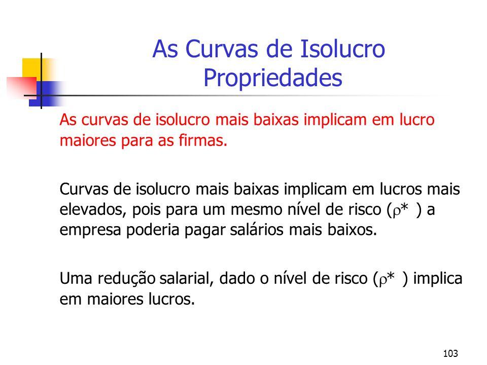 103 As Curvas de Isolucro Propriedades As curvas de isolucro mais baixas implicam em lucro maiores para as firmas. Curvas de isolucro mais baixas impl