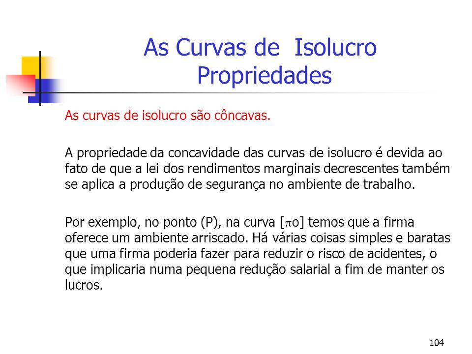 104 As Curvas de Isolucro Propriedades As curvas de isolucro são côncavas. A propriedade da concavidade das curvas de isolucro é devida ao fato de que