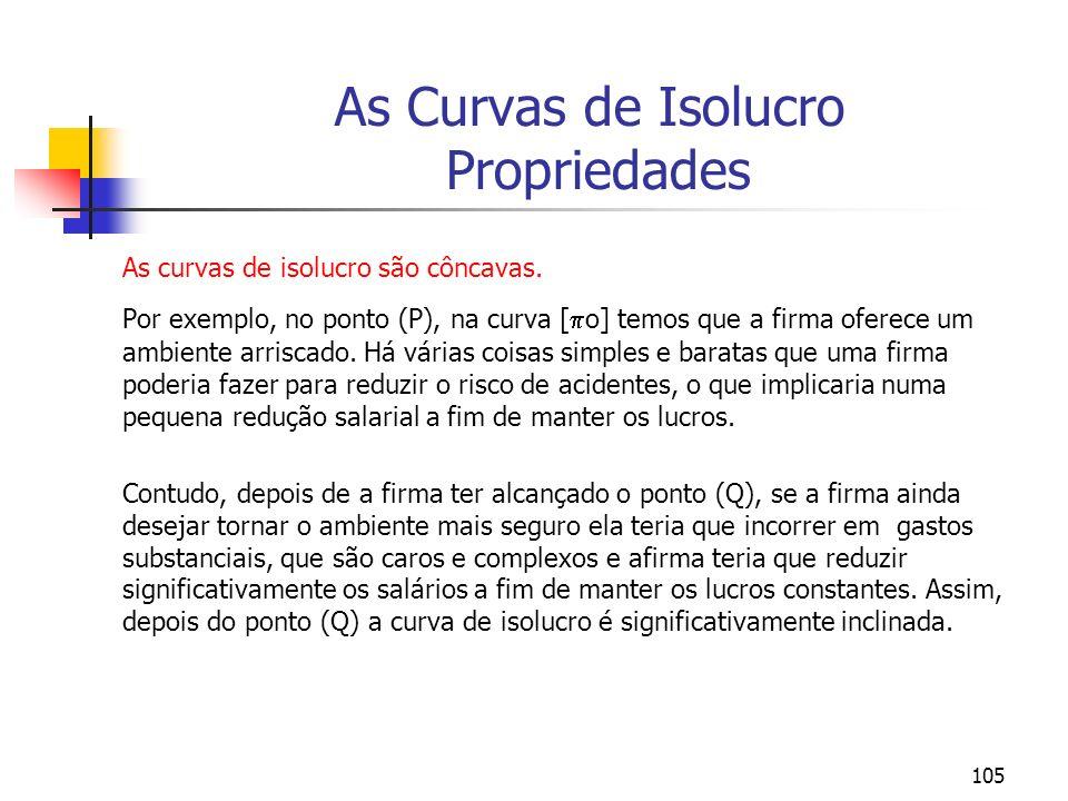 105 As Curvas de Isolucro Propriedades As curvas de isolucro são côncavas. Por exemplo, no ponto (P), na curva [ o] temos que a firma oferece um ambie