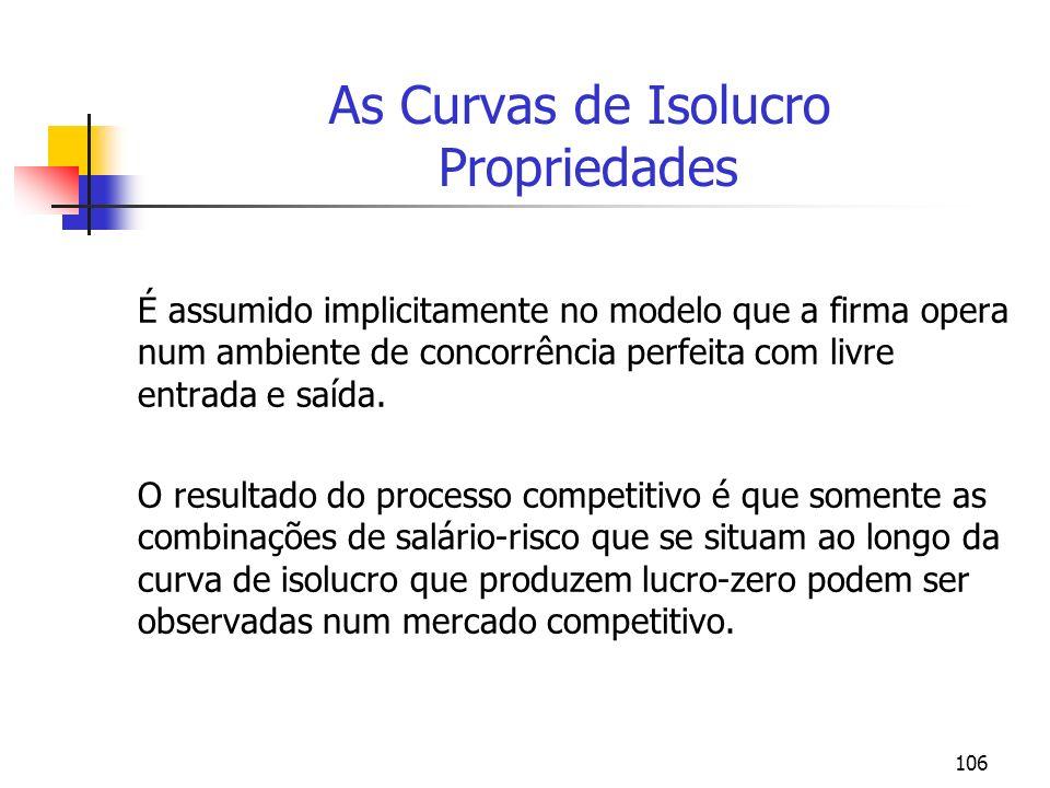 106 As Curvas de Isolucro Propriedades É assumido implicitamente no modelo que a firma opera num ambiente de concorrência perfeita com livre entrada e