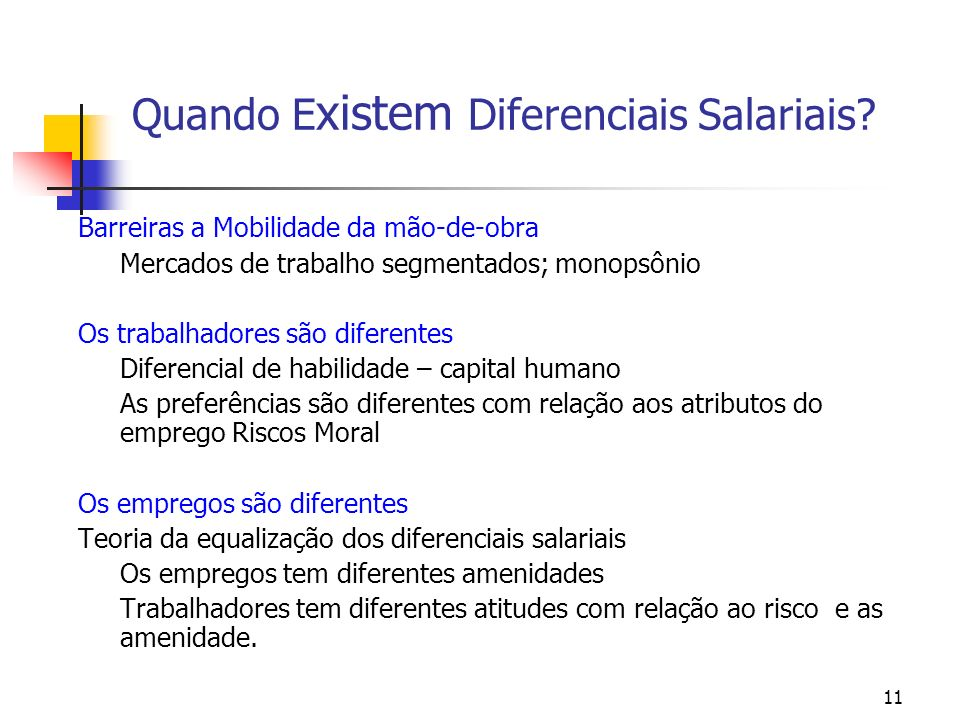 11 Quando E xistem Diferenciais Salariais? Barreiras a Mobilidade da mão-de-obra Mercados de trabalho segmentados; monopsônio Os trabalhadores são dif