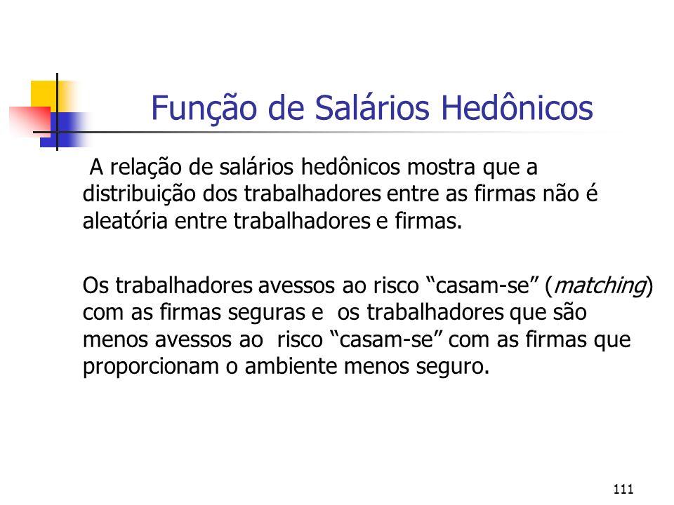 111 Função de Salários Hedônicos A relação de salários hedônicos mostra que a distribuição dos trabalhadores entre as firmas não é aleatória entre tra
