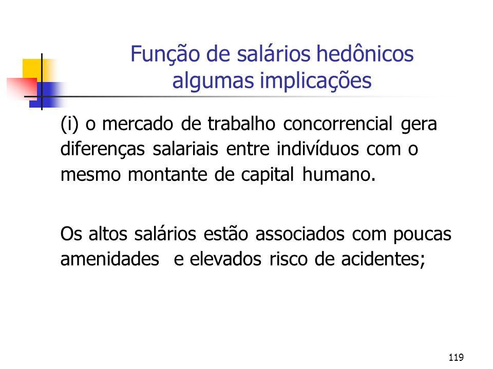 119 Função de salários hedônicos algumas implicações (i) o mercado de trabalho concorrencial gera diferenças salariais entre indivíduos com o mesmo mo