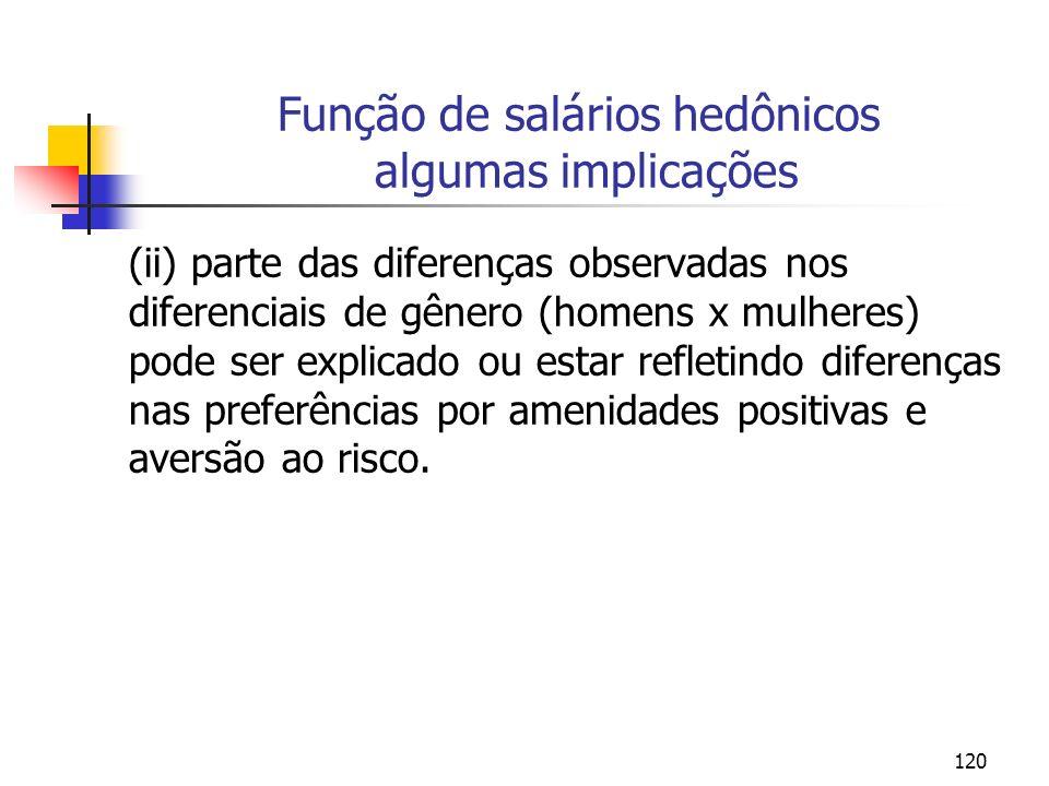 120 Função de salários hedônicos algumas implicações (ii) parte das diferenças observadas nos diferenciais de gênero (homens x mulheres) pode ser expl
