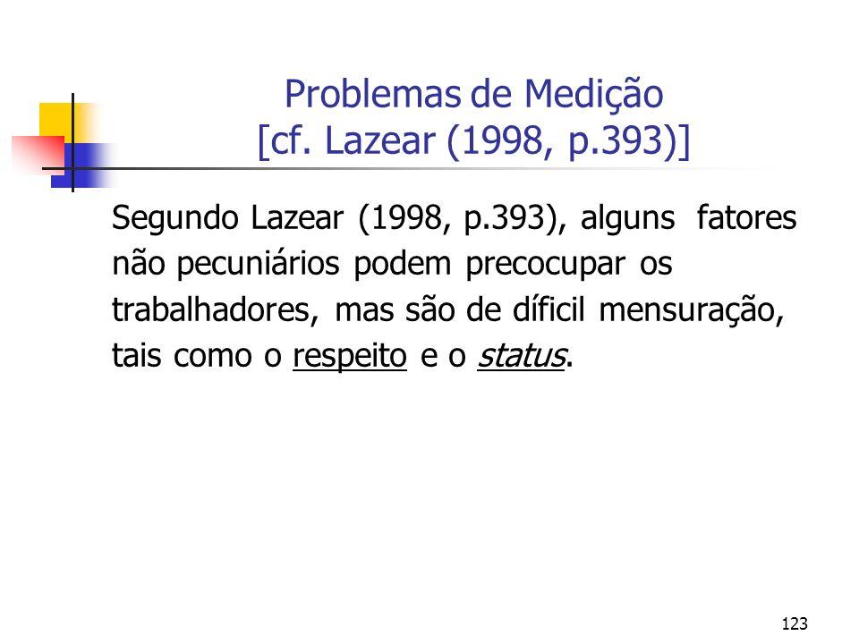 123 Problemas de Medição [cf. Lazear (1998, p.393)] Segundo Lazear (1998, p.393), alguns fatores não pecuniários podem precocupar os trabalhadores, ma