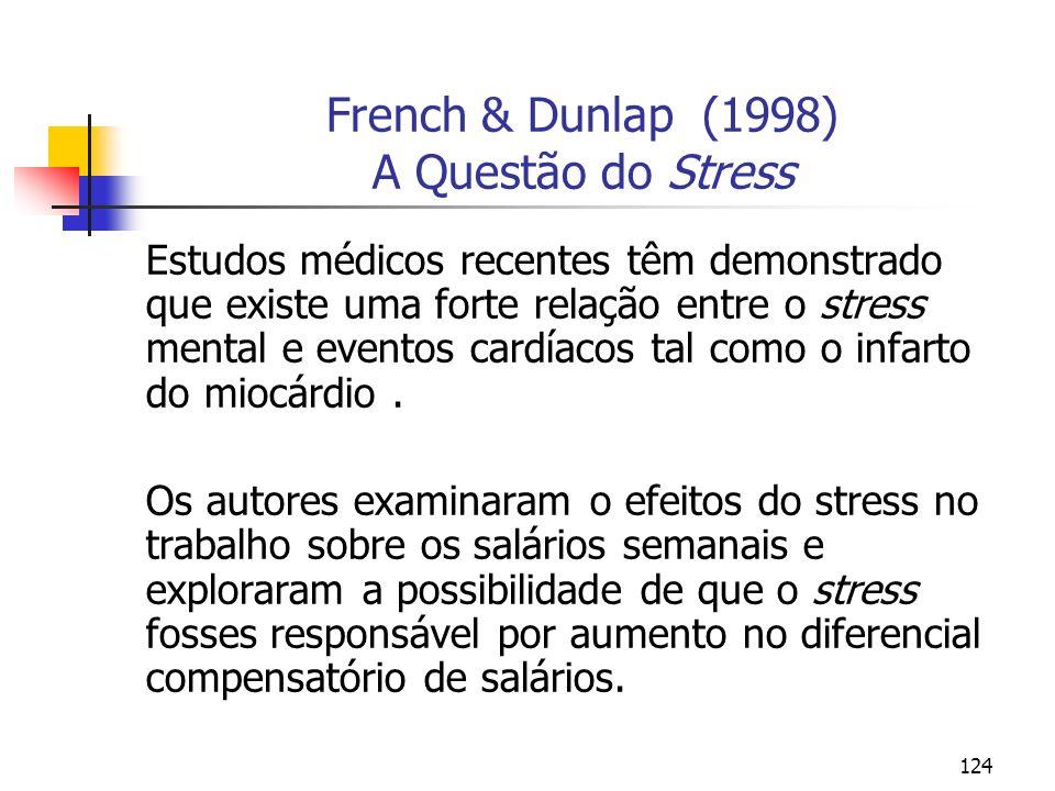 124 French & Dunlap (1998) A Questão do Stress Estudos médicos recentes têm demonstrado que existe uma forte relação entre o stress mental e eventos c