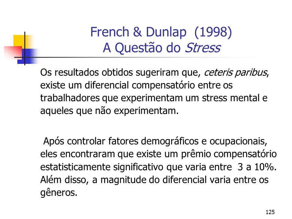 125 French & Dunlap (1998) A Questão do Stress Os resultados obtidos sugeriram que, ceteris paribus, existe um diferencial compensatório entre os trab