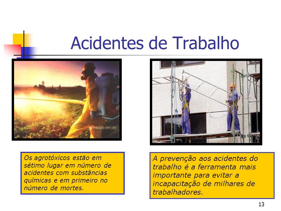 13 Acidentes de Trabalho A prevenção aos acidentes do trabalho é a ferramenta mais importante para evitar a incapacitação de milhares de trabalhadores