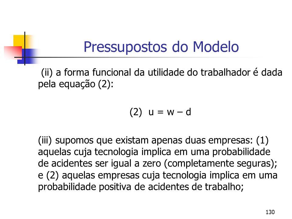 130 Pressupostos do Modelo (ii) a forma funcional da utilidade do trabalhador é dada pela equação (2): (2) u = w – d (iii) supomos que existam apenas