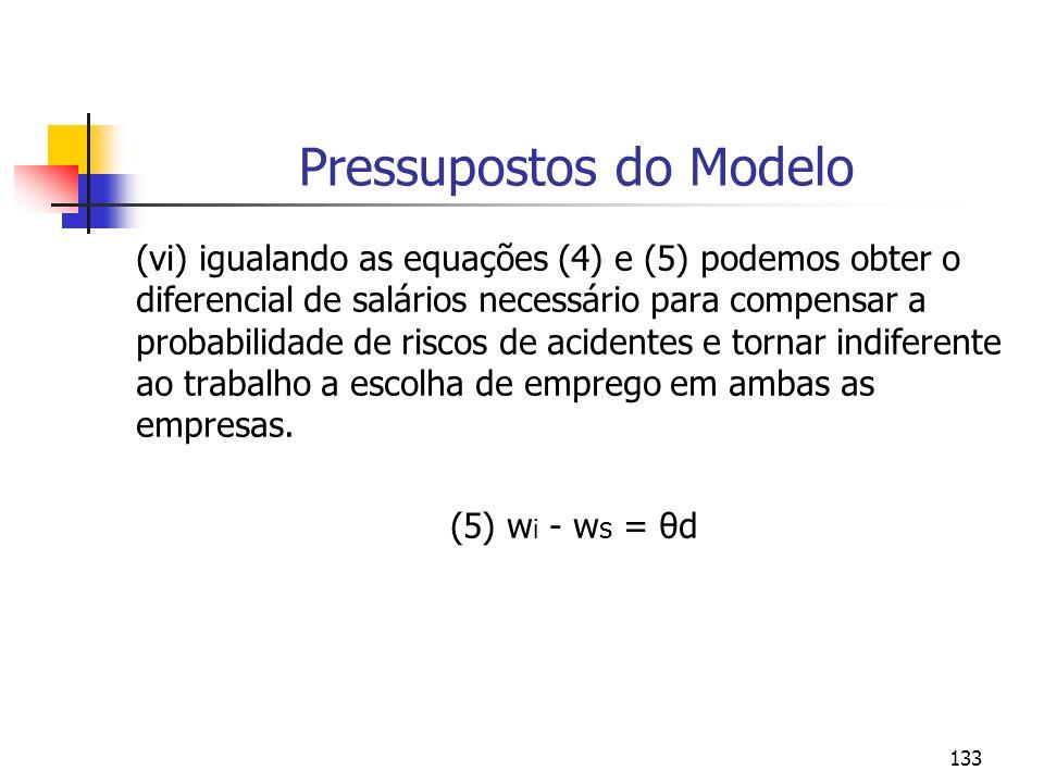133 Pressupostos do Modelo (vi) igualando as equações (4) e (5) podemos obter o diferencial de salários necessário para compensar a probabilidade de r