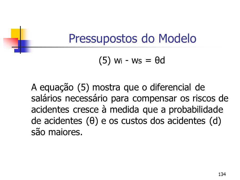 134 Pressupostos do Modelo (5) w i - w s = θd A equação (5) mostra que o diferencial de salários necessário para compensar os riscos de acidentes cres