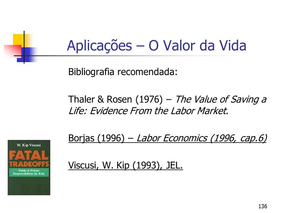 136 Aplicações – O Valor da Vida Bibliografia recomendada: Thaler & Rosen (1976) – The Value of Saving a Life: Evidence From the Labor Market. Borjas