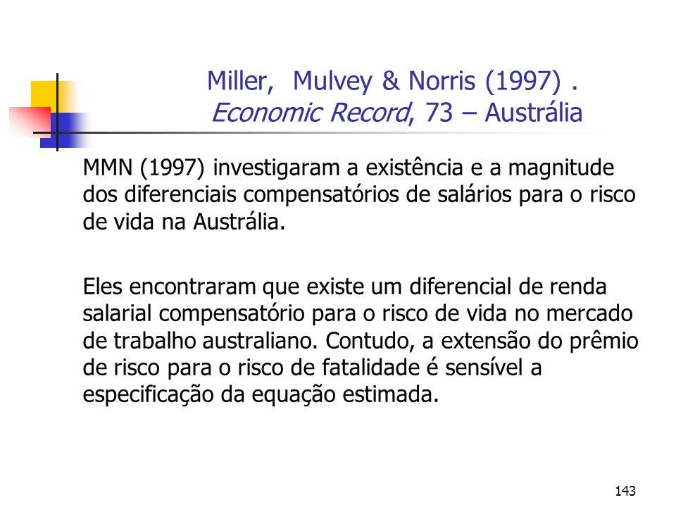 143 Miller, Mulvey & Norris (1997). Economic Record, 73 – Austrália MMN (1997) investigaram a existência e a magnitude dos diferenciais compensatórios