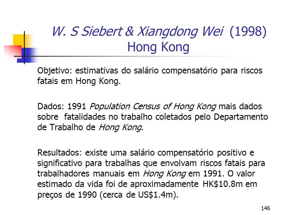 146 W. S Siebert & Xiangdong Wei (1998) Hong Kong Objetivo: estimativas do salário compensatório para riscos fatais em Hong Kong. Dados: 1991 Populati
