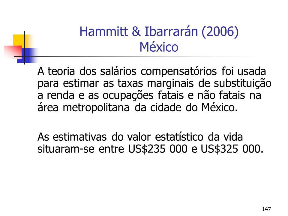 147 Hammitt & Ibarrarán (2006) México A teoria dos salários compensatórios foi usada para estimar as taxas marginais de substituição a renda e as ocup