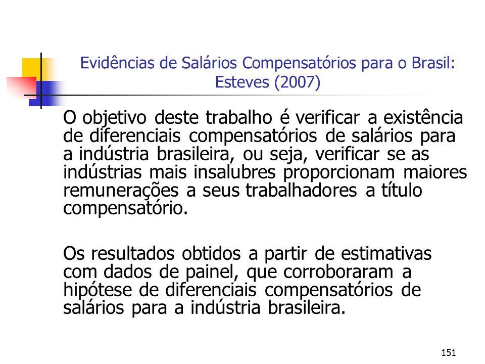 151 Evidências de Salários Compensatórios para o Brasil: Esteves (2007) O objetivo deste trabalho é verificar a existência de diferenciais compensatór
