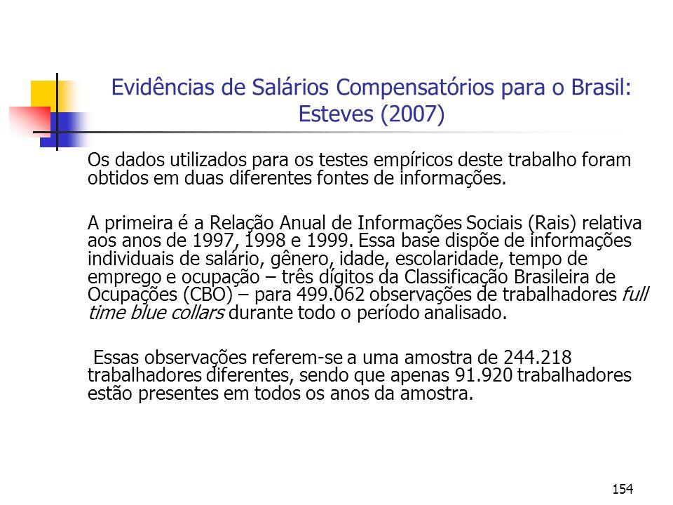 154 Evidências de Salários Compensatórios para o Brasil: Esteves (2007) Os dados utilizados para os testes empíricos deste trabalho foram obtidos em d