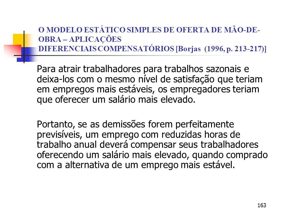 163 O MODELO ESTÁTICO SIMPLES DE OFERTA DE MÃO-DE- OBRA – APLICAÇÕES DIFERENCIAIS COMPENSATÓRIOS [Borjas (1996, p. 213-217)] Para atrair trabalhadores