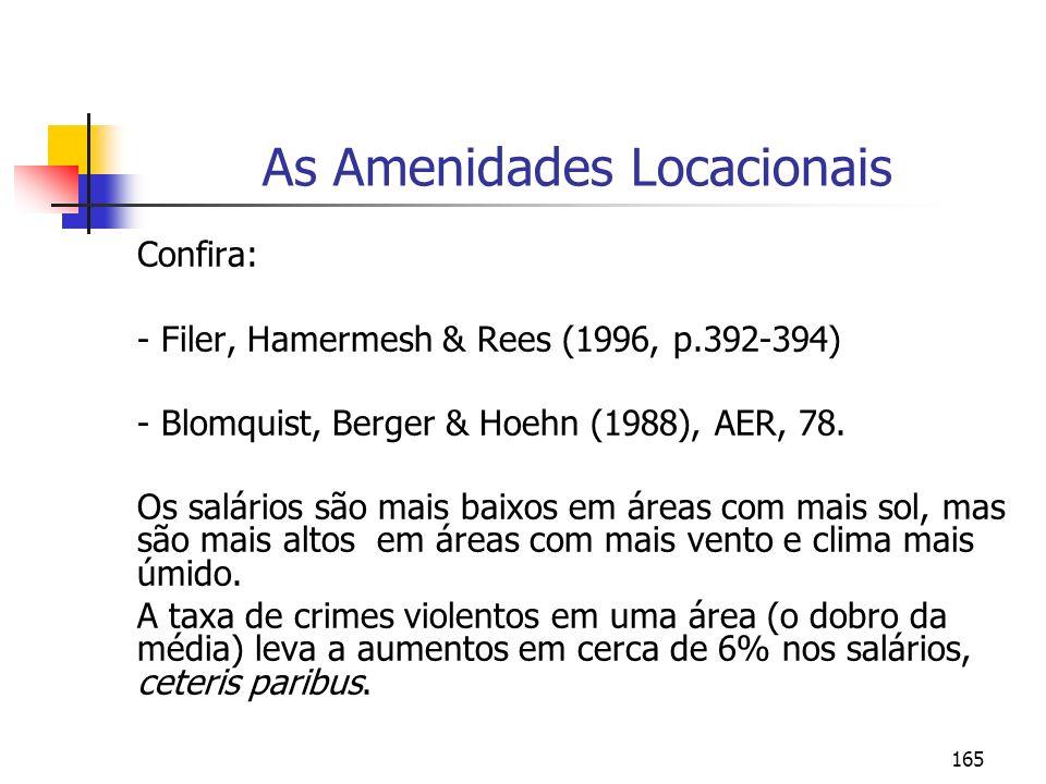 165 As Amenidades Locacionais Confira: - Filer, Hamermesh & Rees (1996, p.392-394) - Blomquist, Berger & Hoehn (1988), AER, 78. Os salários são mais b