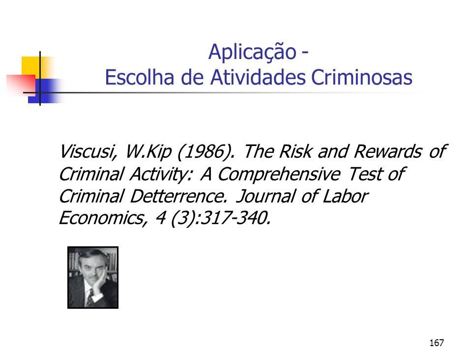 167 Aplicação - Escolha de Atividades Criminosas Viscusi, W.Kip (1986). The Risk and Rewards of Criminal Activity: A Comprehensive Test of Criminal De