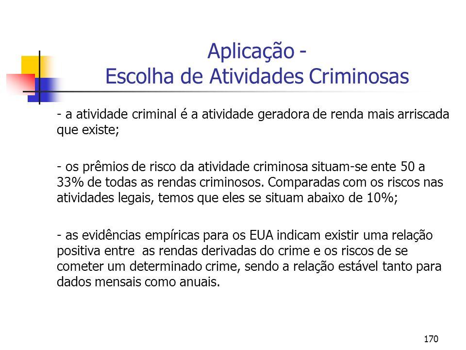 170 Aplicação - Escolha de Atividades Criminosas - a atividade criminal é a atividade geradora de renda mais arriscada que existe; - os prêmios de ris