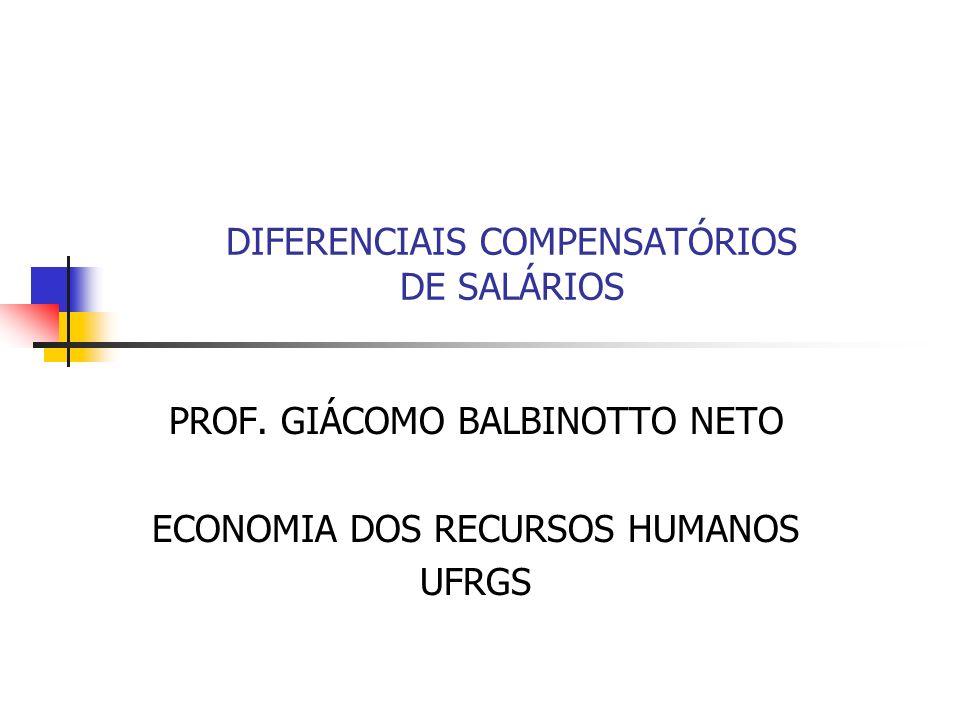 DIFERENCIAIS COMPENSATÓRIOS DE SALÁRIOS PROF. GIÁCOMO BALBINOTTO NETO ECONOMIA DOS RECURSOS HUMANOS UFRGS