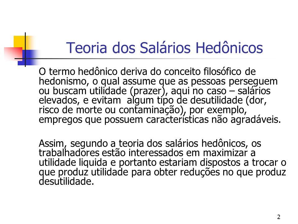 2 Teoria dos Salários Hedônicos O termo hedônico deriva do conceito filosófico de hedonismo, o qual assume que as pessoas perseguem ou buscam utilidad