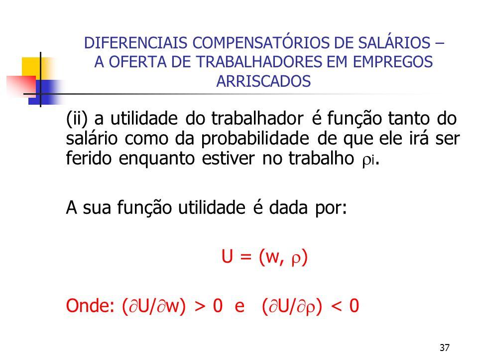 37 DIFERENCIAIS COMPENSATÓRIOS DE SALÁRIOS – A OFERTA DE TRABALHADORES EM EMPREGOS ARRISCADOS (ii) a utilidade do trabalhador é função tanto do salári