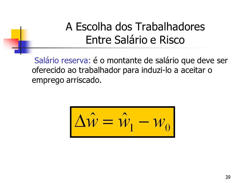 39 A Escolha dos Trabalhadores Entre Salário e Risco Salário reserva: é o montante de salário que deve ser oferecido ao trabalhador para induzi-lo a a