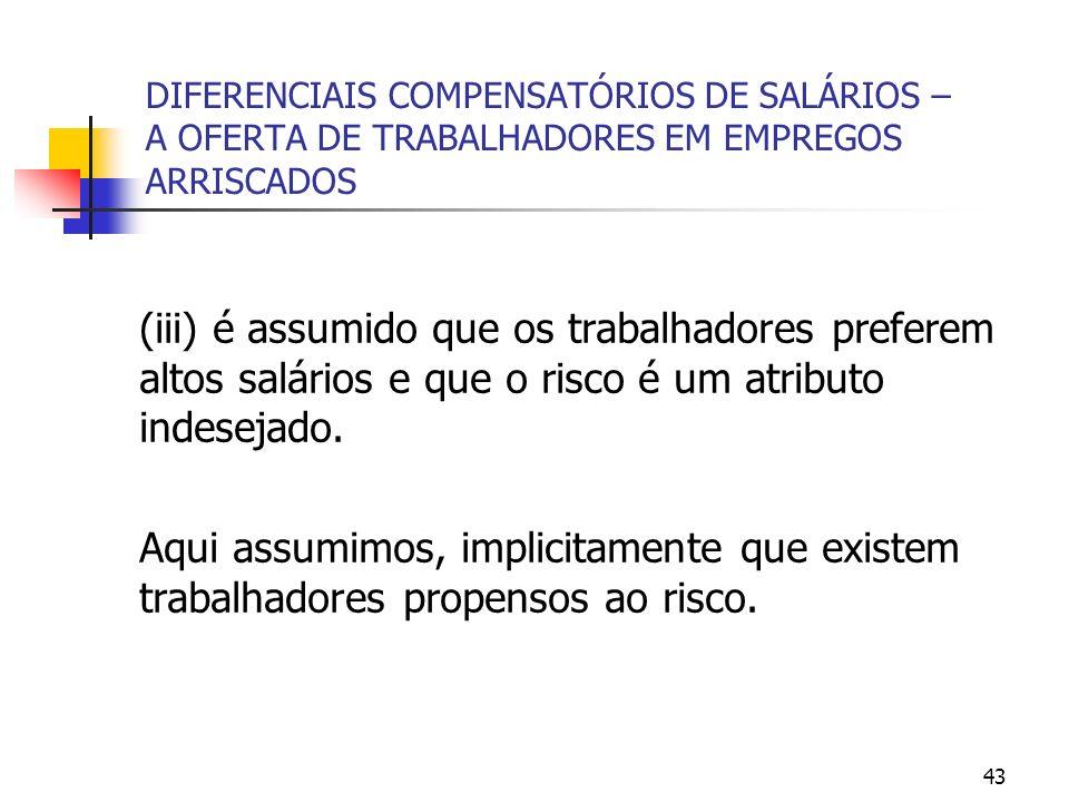 43 DIFERENCIAIS COMPENSATÓRIOS DE SALÁRIOS – A OFERTA DE TRABALHADORES EM EMPREGOS ARRISCADOS (iii) é assumido que os trabalhadores preferem altos sal