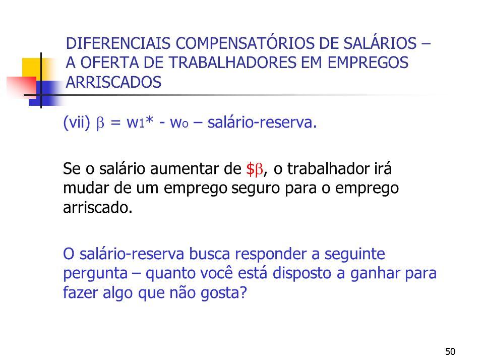 50 DIFERENCIAIS COMPENSATÓRIOS DE SALÁRIOS – A OFERTA DE TRABALHADORES EM EMPREGOS ARRISCADOS (vii) = w 1 * - w o – salário-reserva. Se o salário aume