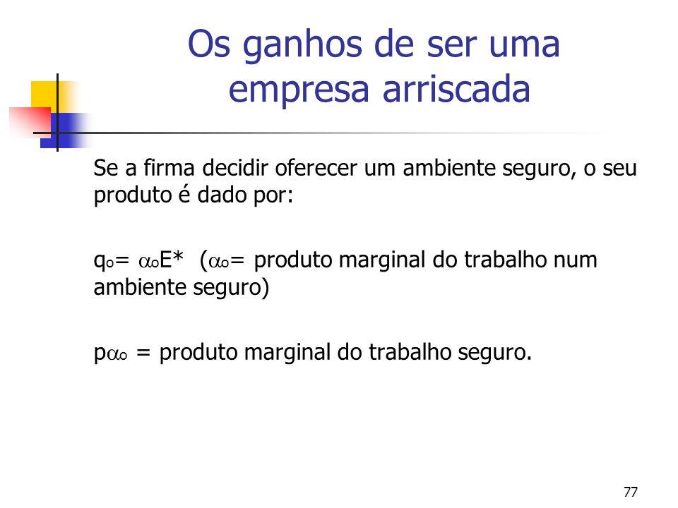 77 Os ganhos de ser uma empresa arriscada Se a firma decidir oferecer um ambiente seguro, o seu produto é dado por: q o = o E* ( o = produto marginal