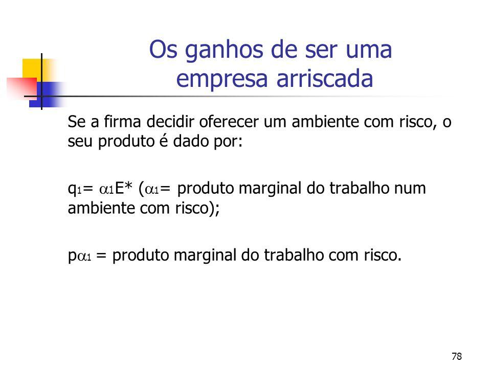 78 Os ganhos de ser uma empresa arriscada Se a firma decidir oferecer um ambiente com risco, o seu produto é dado por: q 1 = 1 E* ( 1 = produto margin