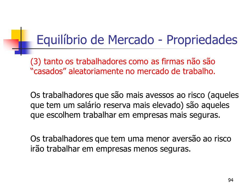 94 Equilíbrio de Mercado - Propriedades (3) tanto os trabalhadores como as firmas não são casados aleatoriamente no mercado de trabalho. Os trabalhado