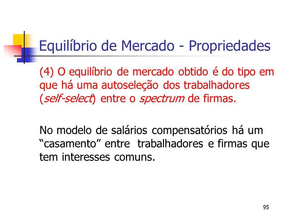 95 Equilíbrio de Mercado - Propriedades (4) O equilíbrio de mercado obtido é do tipo em que há uma autoseleção dos trabalhadores (self-select) entre o