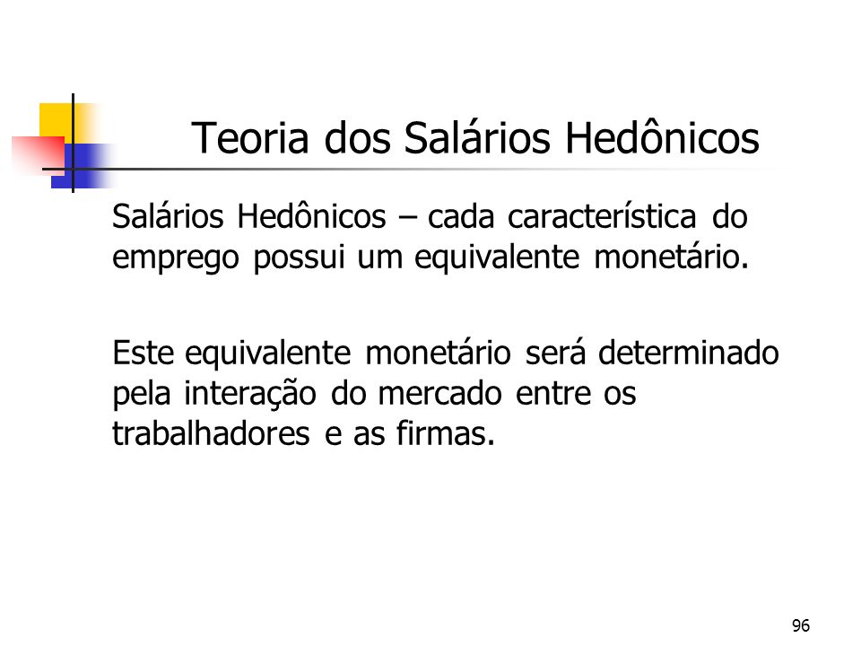 96 Teoria dos Salários Hedônicos Salários Hedônicos – cada característica do emprego possui um equivalente monetário. Este equivalente monetário será