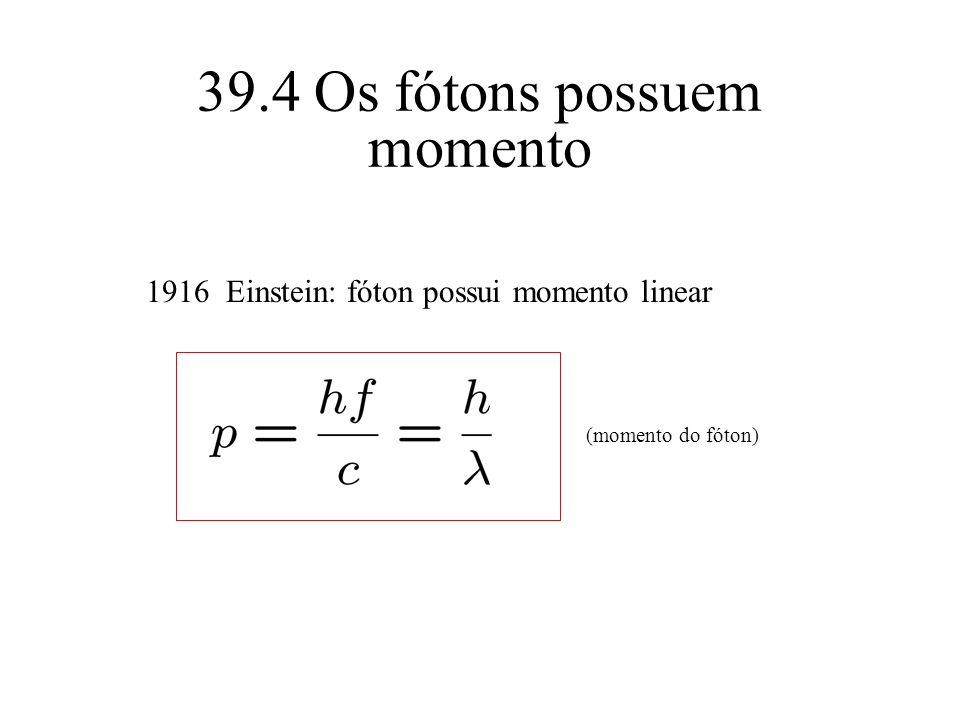 39.4 Os fótons possuem momento 1916 Einstein: fóton possui momento linear (momento do fóton)