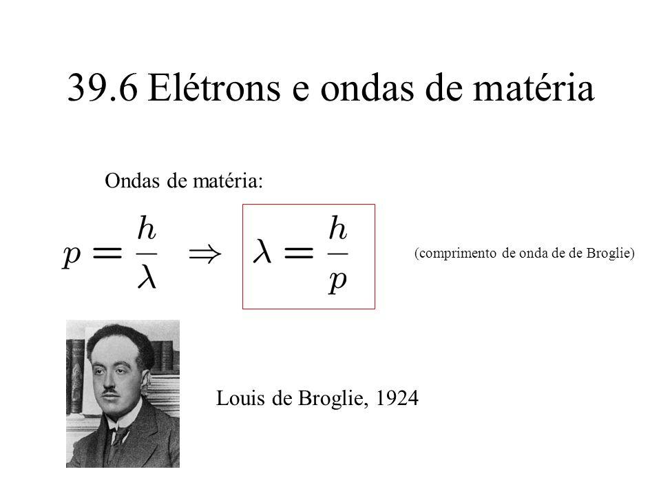 39.6 Elétrons e ondas de matéria Ondas de matéria: (comprimento de onda de de Broglie) Louis de Broglie, 1924