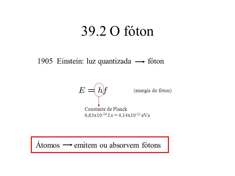 39.2 O fóton 1905 Einstein: luz quantizada fóton (energia do fóton) Constante de Planck 6,63x10 -34 J.s = 4,14x10 -15 eV.s Átomos emitem ou absorvem f