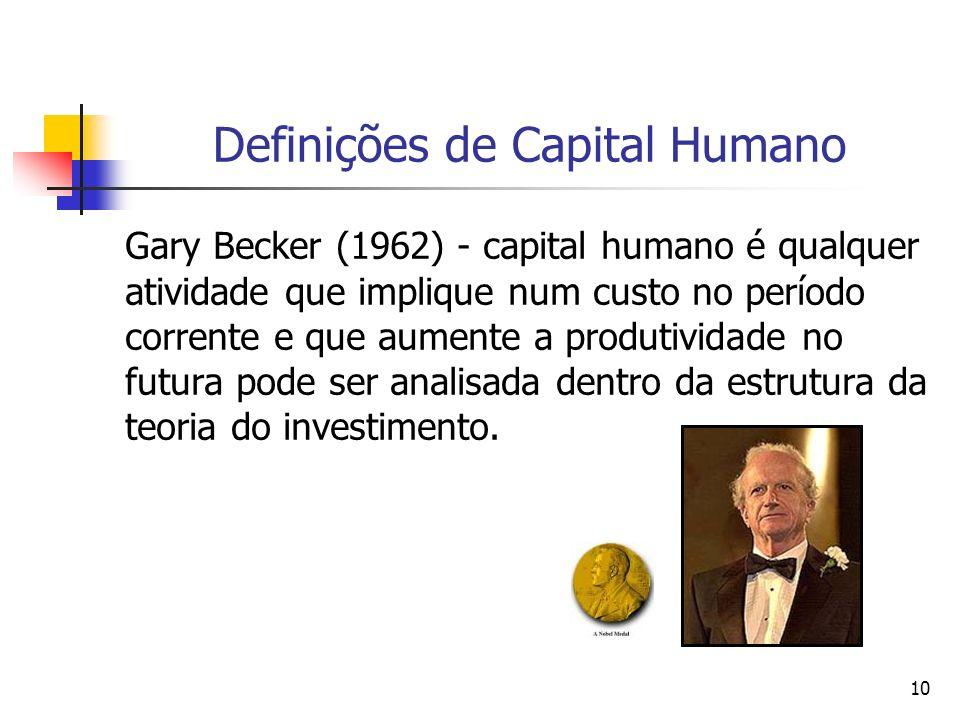 10 Definições de Capital Humano Gary Becker (1962) - capital humano é qualquer atividade que implique num custo no período corrente e que aumente a pr