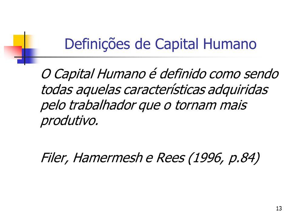 13 Definições de Capital Humano O Capital Humano é definido como sendo todas aquelas características adquiridas pelo trabalhador que o tornam mais pro