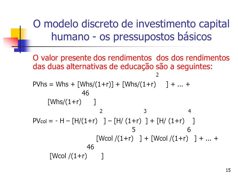 15 O modelo discreto de investimento capital humano - os pressupostos básicos O valor presente dos rendimentos dos dos rendimentos das duas alternativ