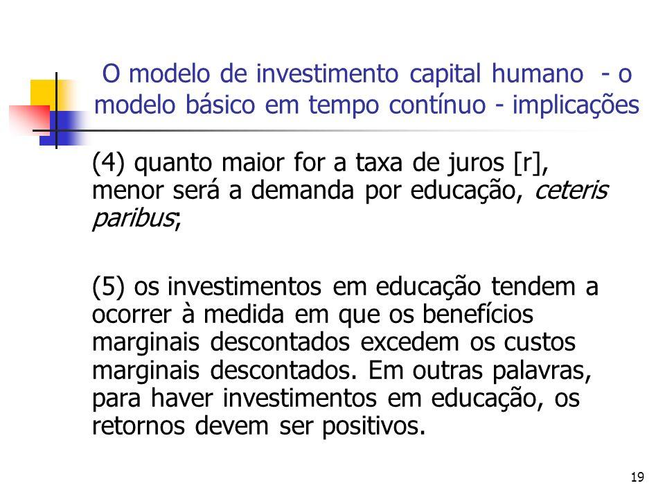 19 O modelo de investimento capital humano - o modelo básico em tempo contínuo - implicações (4) quanto maior for a taxa de juros [r], menor será a de