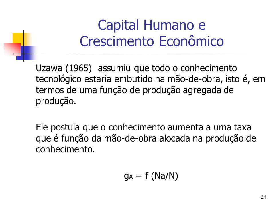 24 Capital Humano e Crescimento Econômico Uzawa (1965) assumiu que todo o conhecimento tecnológico estaria embutido na mão-de-obra, isto é, em termos