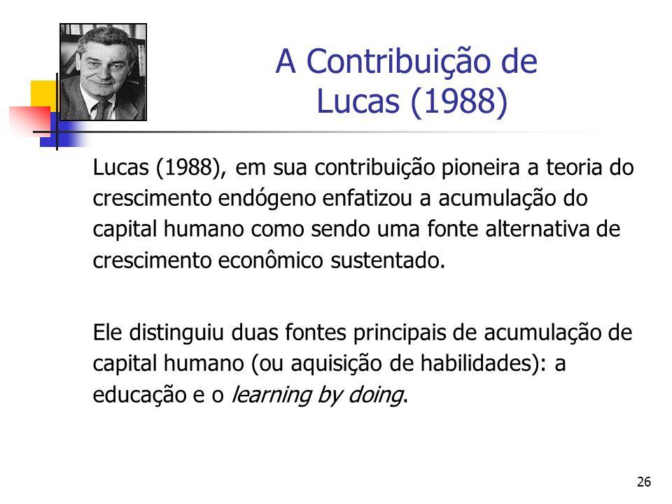 26 A Contribuição de Lucas (1988) Lucas (1988), em sua contribuição pioneira a teoria do crescimento endógeno enfatizou a acumulação do capital humano