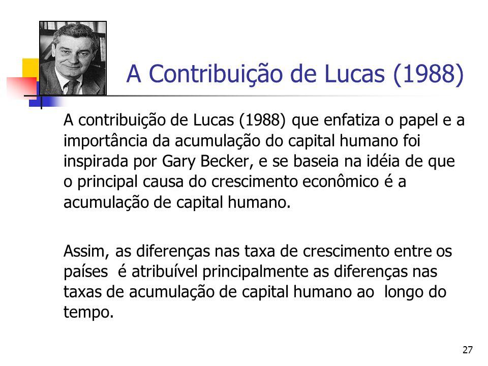 27 A Contribuição de Lucas (1988) A contribuição de Lucas (1988) que enfatiza o papel e a importância da acumulação do capital humano foi inspirada po